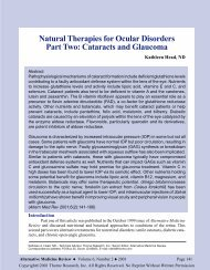 Natural Therapies for Ocular Disorders - Alternative Medicine Review
