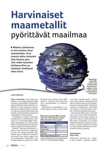 Harvinaiset maametallit pyörittävät maailmaa - Kemia-lehti