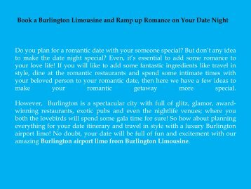 Book a Burlington Limousine and Ramp up Romance on Your Date Night
