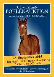 3. Internationale Fohlenauktion Hengststation Maas J. Hell - 25. September 2015