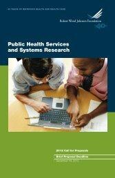 Call for Proposals Brochure (PDF) - Robert Wood Johnson Foundation