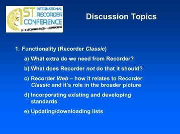 Discussion Topics - Extranet