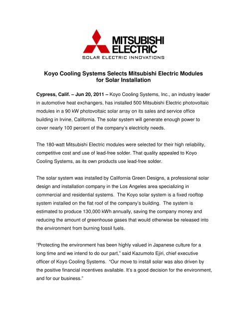 koyo cooling systems selects mitsubishi electric modules for solar
