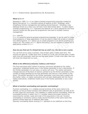 C++ Interview Questions U0026 Answers  Interview Questions And Answers
