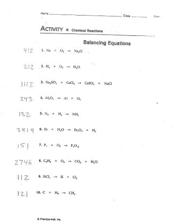 Chapter 8 Balancing Equations Set # 3