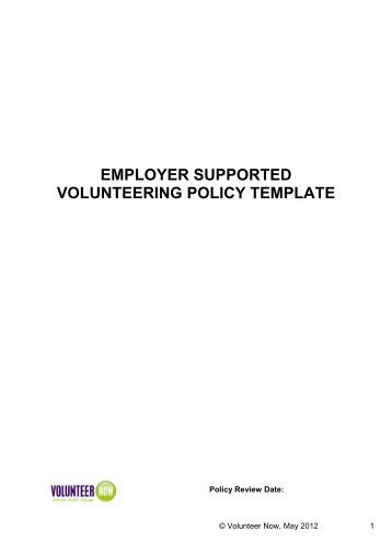 Employer Supported Volunteering Policy Template - Volunteer Now
