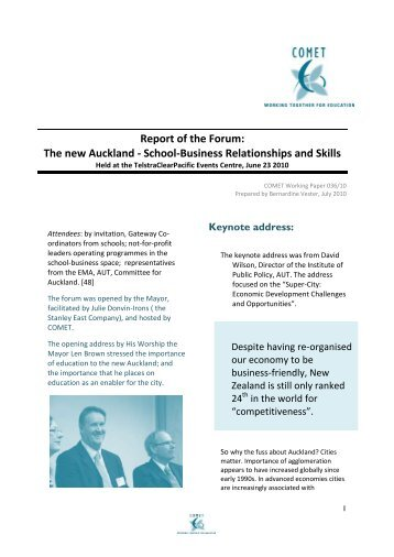 Report of the Forum: The new Auckland - School-Business ...