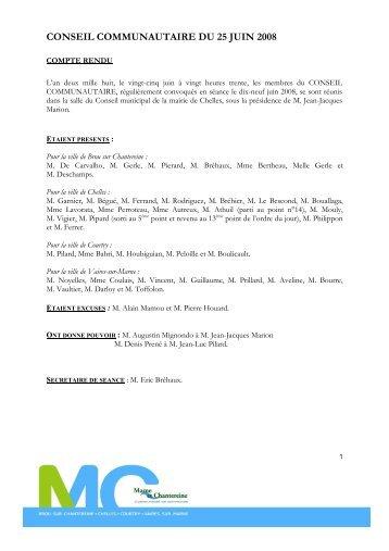 conseil communautaire du 25 juin 2008 - Brou Sur Chantereine