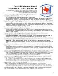 Texas Bluebonnet Award Annotated 2012 – 2013 Master List