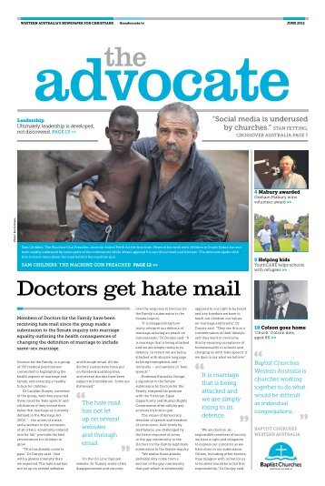 Doctors get hate mail - Baptist Churches Western Australia