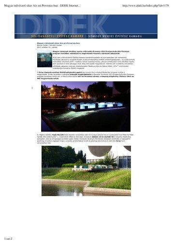 Magyar művészeti siker Aix-en-Provence-ban ... - Pierre Vasarely