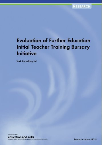 Evaluation of Further Education Initial Teacher Training Bursary ...