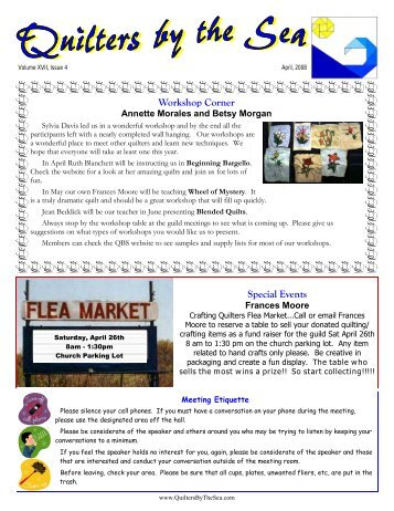 April 2008 Newsletter - Quilters by the Sea