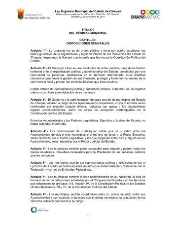 Ley Organica Municipal del Estado de Chiapas - Secretaria de ...
