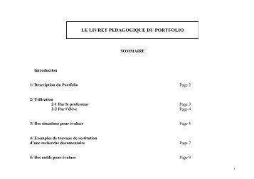 le livret pedagogique du portfolio - Documentation dans l'académie ...