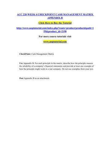 ACC 220 Week 4 Checkpoint Cash Management Matrix Appendix B