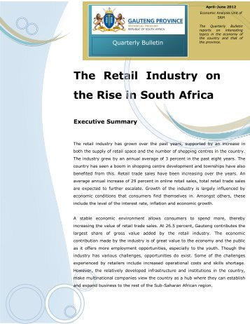 analysis of south africas retail industry Home news hypermarkets in south africa -the future of the south african retail industry has changed dramatically over and market data and analysis a part of.