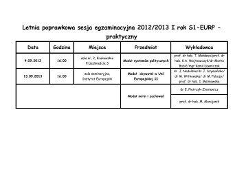 Letnia poprawkowa sesja egzaminacyjna 2012/2013 I rok S1-EURP ...