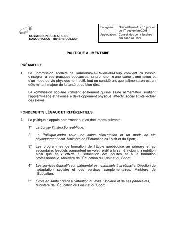 Politique alimentaire - Commission scolaire de Kamouraska ...