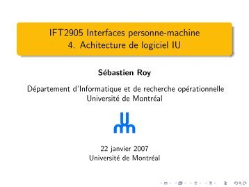 IFT2905 Interfaces personne-machine 4. Achitecture de ... - igt.net