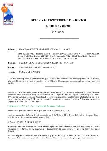 PV 09 SAISON 2010 2011.pdf - Comité de l'Hérault de Basketball