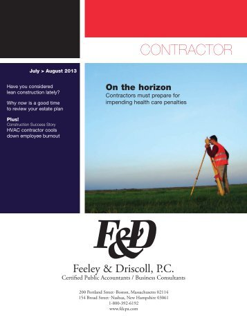 Contractor Newsletter from the Boston Accounting Firm of F&D