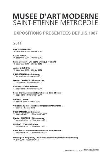 expositions presentees depuis 1987 - Musée d'art moderne de Saint ...
