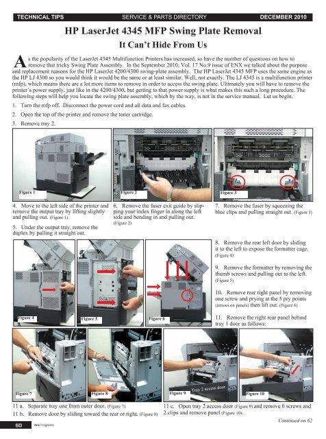 Hp Laserjet 4345 Mfp Swing Plate Removal Enx Magazine