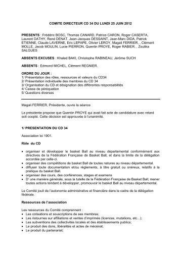 pv 1 Comite Directeur du 25 Juin 2012.pdf - Comité de l'Hérault de ...