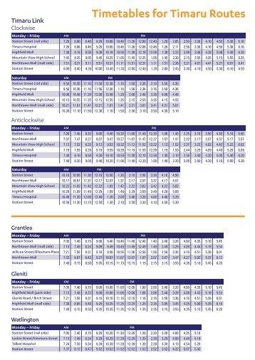 Timetables for Timaru Routes - MetroInfo