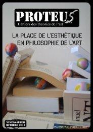 Revue Proteus – Cahiers des théories de l'art 1
