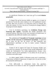 Intervention devant « l'Assemblée pour la Culture et la Création à l ...