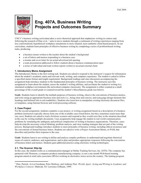 Business Writing Goals And Outcomes  English Department At Unlv