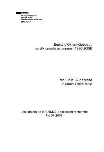 Equita d'Oxfam-Québec : les dix premières années - Chaire de ...