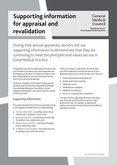 Gmc Supporting Information For Appraisal And Revalidation