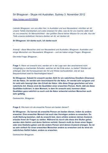 Sri Bhagavan - Skype mit Australien, Sydney 3. November 2012