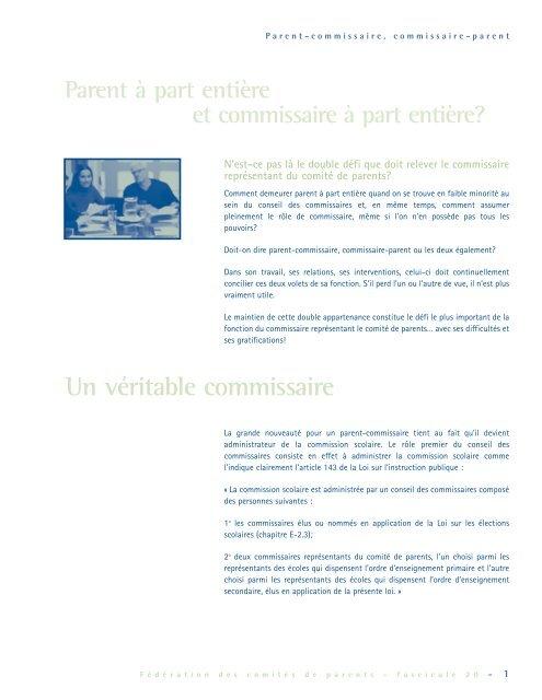 Parent-commissaire Commissaire-parent - Fédération des comités ...