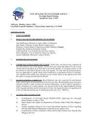 CITY OF SAND CITY SUCCESSOR AGENCY Oversight Board ...