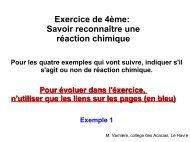 Réaction chimique et atomes - Les Acacias, collège du Havre