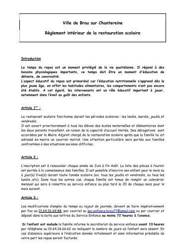 Règlement intérieur de la restauration scolaire Brou - Brou Sur ...