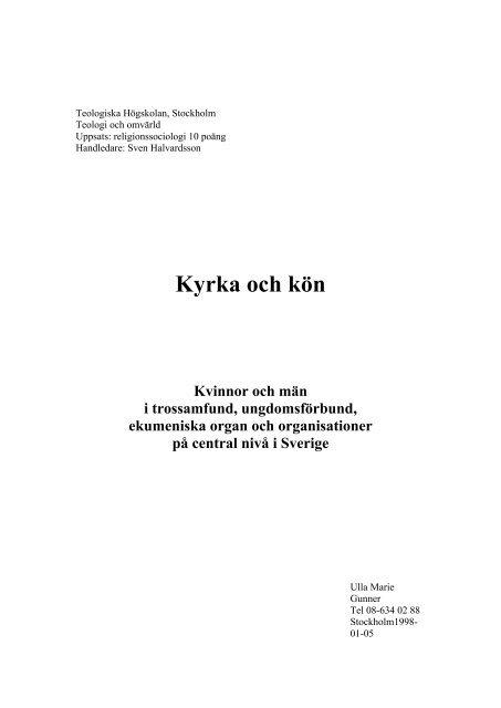 Kyrka och kön - Sveriges Ekumeniska kvinnoråd