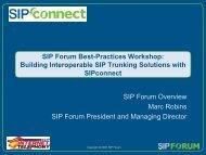 SIP Forum Best-Practices Workshop: Building Interoperable SIP ...