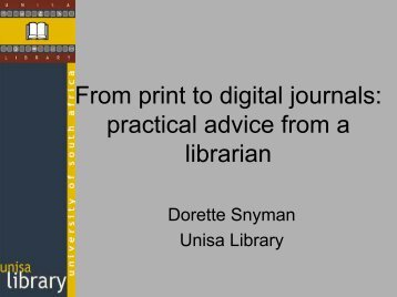 From Print to Digital Journals - SAOUG