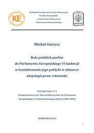 Rola polskich posłów do Parlamentu Europejskiego VI ... - O nas