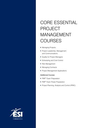 Core essential ProjeCt ManageMent Courses - ESI International
