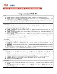 Programmation 2010-2011 - Chaire de responsabilité sociale et de ...