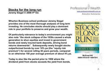 Stocks for the long run - Professional Wealth