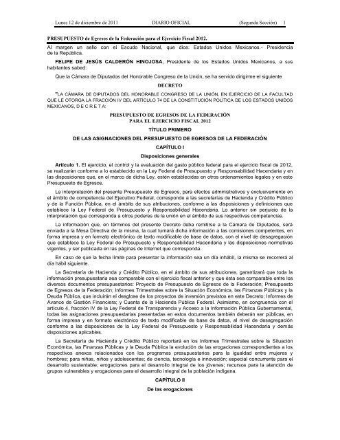 Segunda Secciã N 1 Presupuesto De Egresos De La Federaciã N