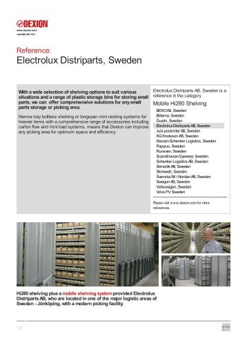 Electrolux Distriparts AB, Sweden - Dexion