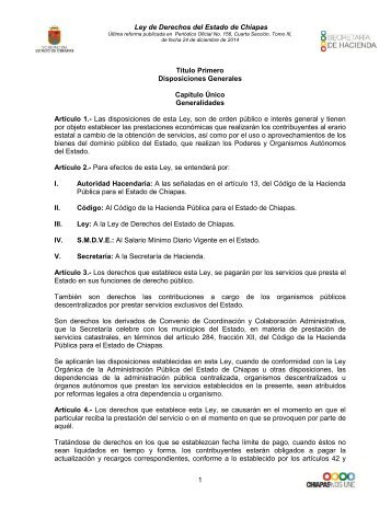 Ley Estatal de Derechos - Secretaria de Hacienda